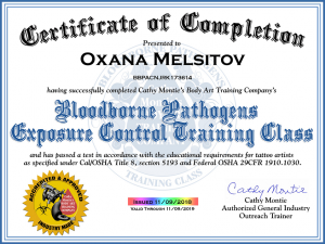Bloodborne Pathogens Exposure Control Training Class Certificate