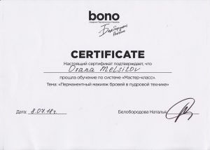 Bono Master Class Powder Brows Certificate
